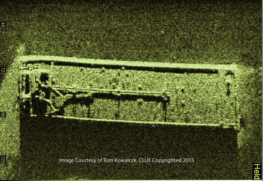 A side scan sonar took this image of a sunken barge in western Lake Erie that researchers believe is the Argo, a tanker barge that went down in a storm in 1937. Photo: Tom Kowalczyk /Associated Press / Tom Kowalczyk