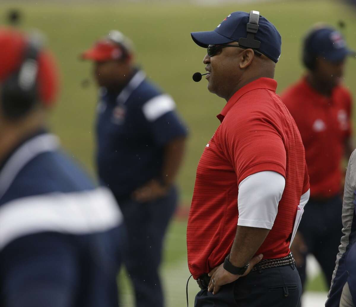 Davis H.S. football coach James Showers is shown on the sidelines during game against Davis H.S. Eisenhower H.S. at W.W. Thorne Stadium Saturday, Oct. 24, 2015, in Houston. ( Melissa Phillip / Houston Chronicle )