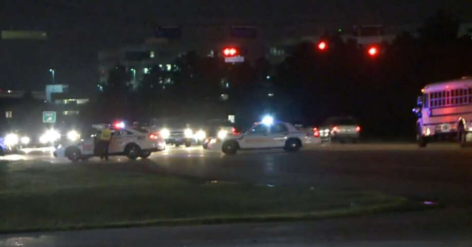 A pedestrian died in traffic collision early Monday morning along a roadway in northwest Harris County, forcing officials to block the street. The incident happened about 4:15 a.m. on southbound Highway 249 near Hollister, according to the Harris County Sheriff's Office. Photo: Metro Video