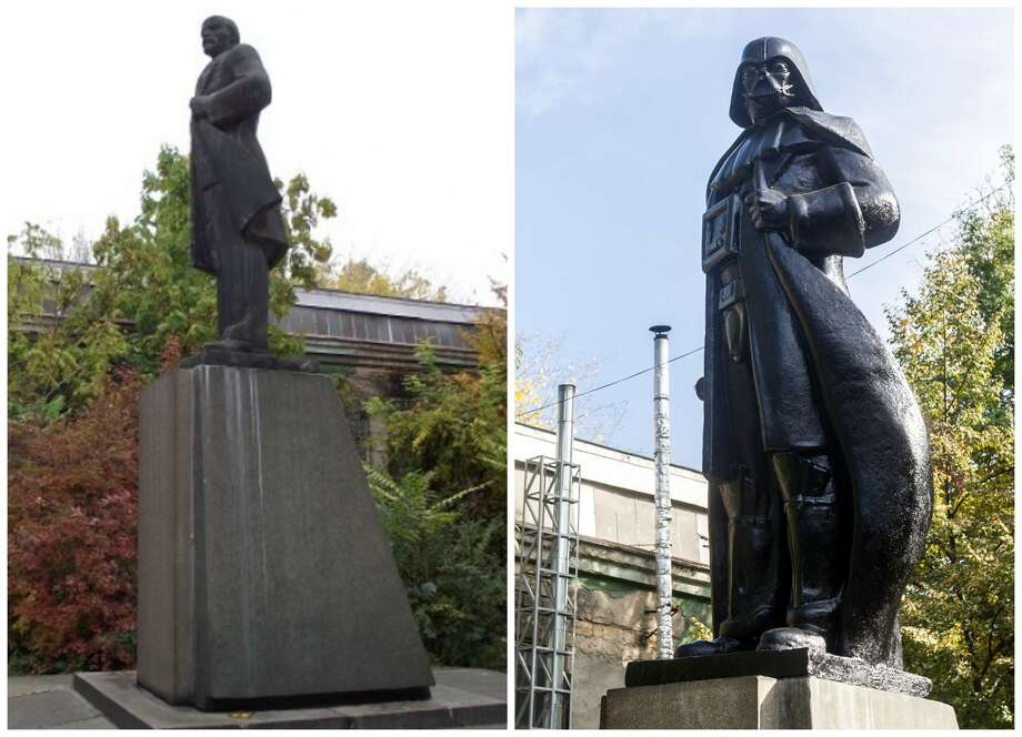 In response to a law requiring the removal of communist party symbols in the Ukraine, a Lenin statue in Odessa (left) was transformed into Darth Vader (right) in October 2015. Photo: Dumskaya.net, VOLODYMYR SHUVAYEV/VOLODYMYR SHUVAYEV/AFP/Getty