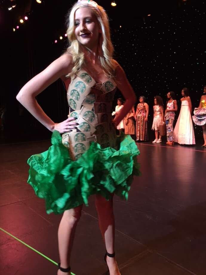 A dress made of Starbucks cup holders and paper. Photo: Joy Sewing