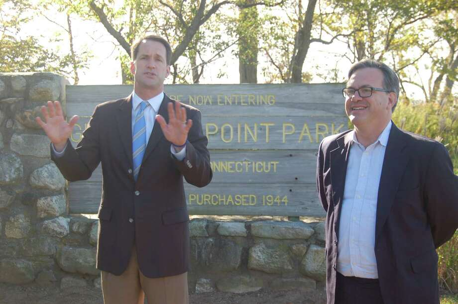 U.S. Rep. Jim Himes, at left, appeared Monday morning to endorse his fellow Greenwich Democrat Frank Farricker at an event at Greenwich Point. Photo: /Ken Borsuk