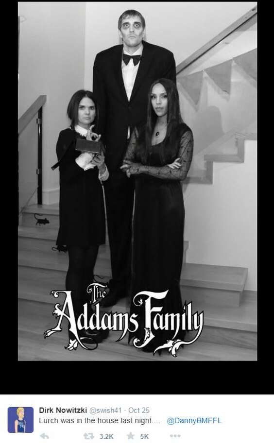 Dallas Mavericks star, Dirk Nowitzki's Addams Family Halloween costume is going to be a hard act to follow.