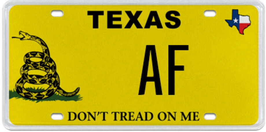 """PHOTOS: Rejected Texas license plate messages: MyPlates.com, the official custom license plate dealer of the Texas Department of Motor Vehicles, briefly was auctioning this two-letter """"AF"""" license plate until they found out what many millennials already knew """"AF"""" often stood for. See more rejected plates ..."""