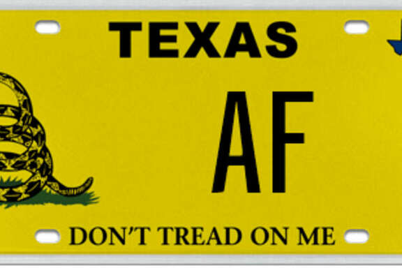 """MyPlates.com, the official custom license plate dealer of the Texas Department of Motor Vehicles, briefly was auctioning this two-letter """"AF"""" license plate until they found out what many millennials already knew """"AF"""" often stood for."""