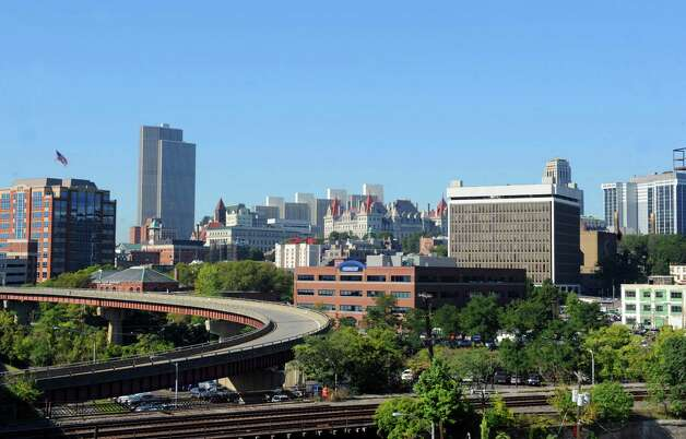 View of the Albany skyline as seen from the 787 Clinton Avenue exit  on Friday Sept. 18, 2015 in Albany, N.Y.  (Michael P. Farrell/Times Union) Photo: Michael P. Farrell / 00033413A