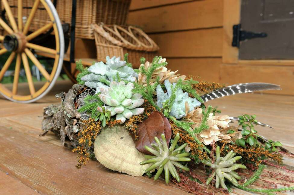 Woodland cornucopia covered with bark and filled with woodland greens, mosses, sedum plants and turkey feathers on Tuesday, Sept. 22, 2015, at Native Farm Flowers in Greenfield Center, N.Y. (Cindy Schultz / Times Union)