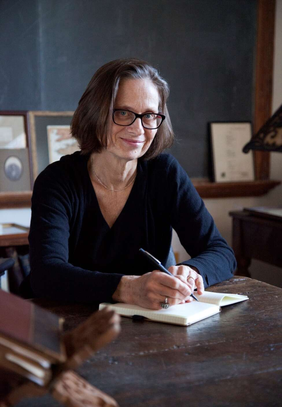 With Lydia Davis story in Unwind on July 27, 2014. (Theo Cote)