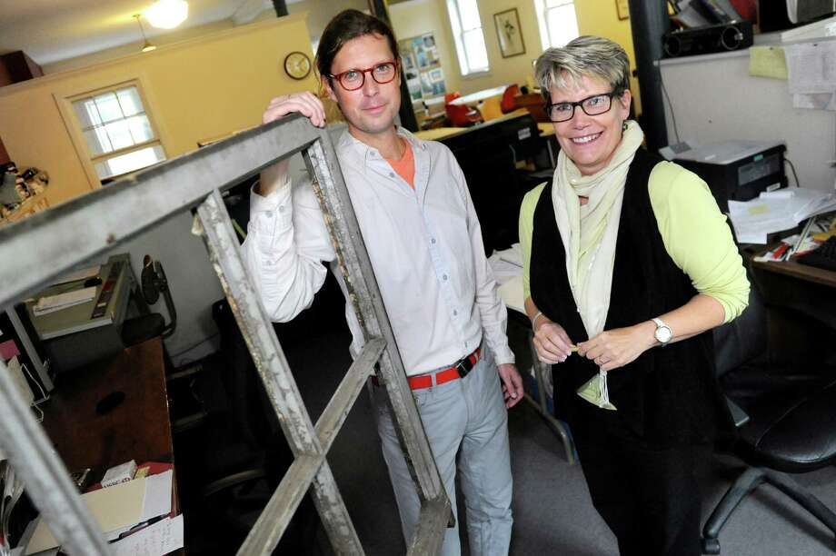 "Adam Frelin, left, and Barbara Nelson are the organizers behind ""Breathing Lights,"" an urban art project, on Friday, Oct. 2, 2015, at TAP, Inc. in Troy, N.Y. (Cindy Schultz / Times Union) Photo: Cindy Schultz / 10033550A"