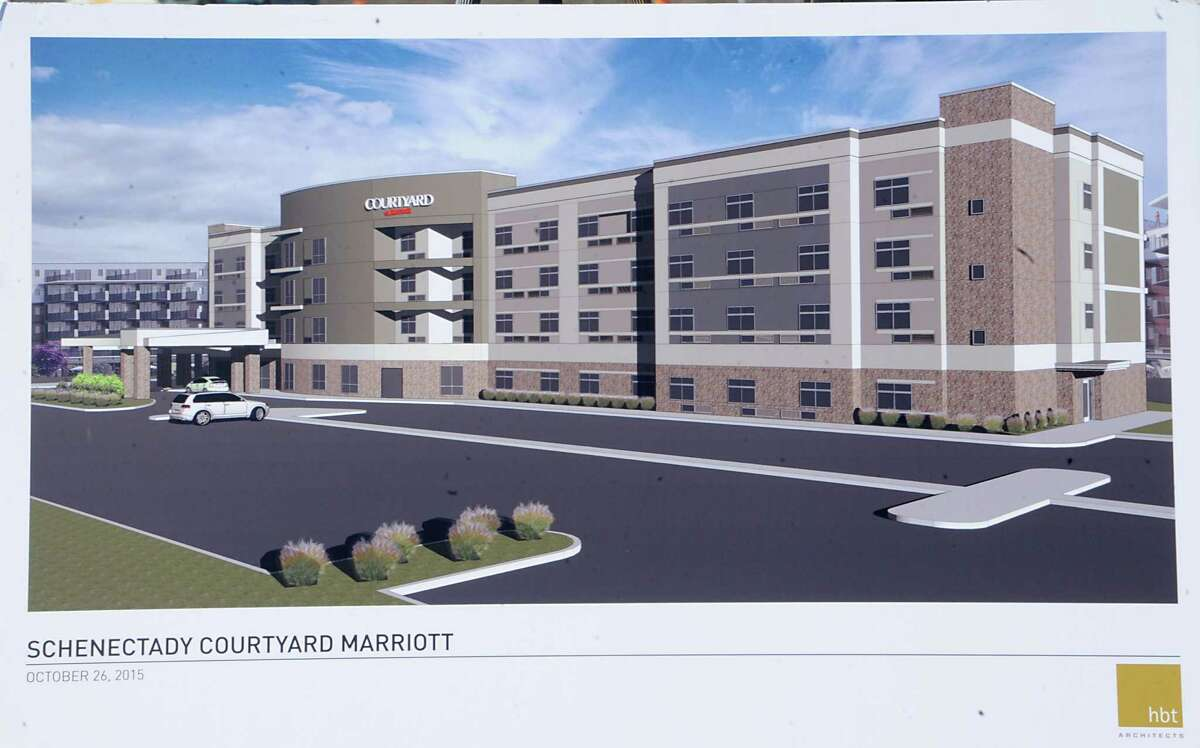 Rendering at a press conference where Schenectady County and City Officials joined with the Galesi Group and BBL Construction to officially break ground on the new Courtyard by Marriott Hotel at the Mohawk Harbor Schenectady Casino Site on Monday, Oct. 26, 2015 in Schenectady, N.Y. (Lori Van Buren / Times Union)
