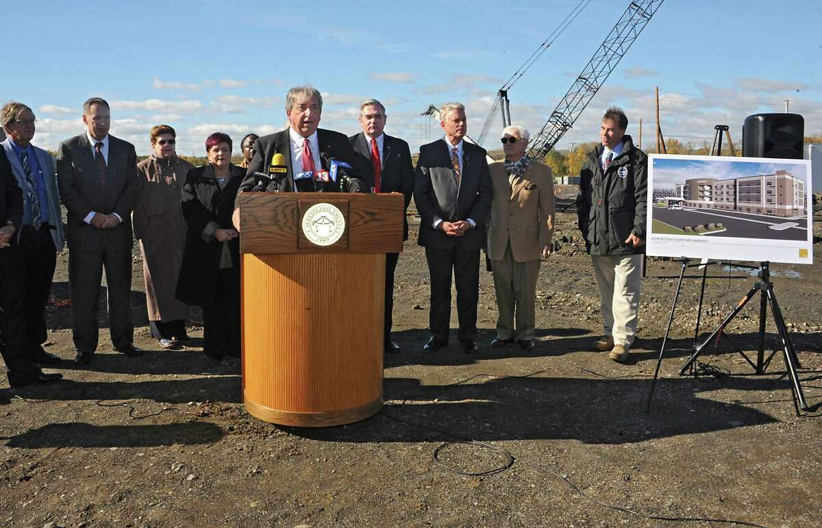 David Buicko, COO of the Galesi Group speaks as he is joined by Schenectady county and city officials and BBL Construction to officially break ground on the new Courtyard by Marriott Hotel at the Mohawk Harbor Schenectady Casino Site on Monday, Oct. 26, 2015 in Schenectady, N.Y. (Lori Van Buren / Times Union)
