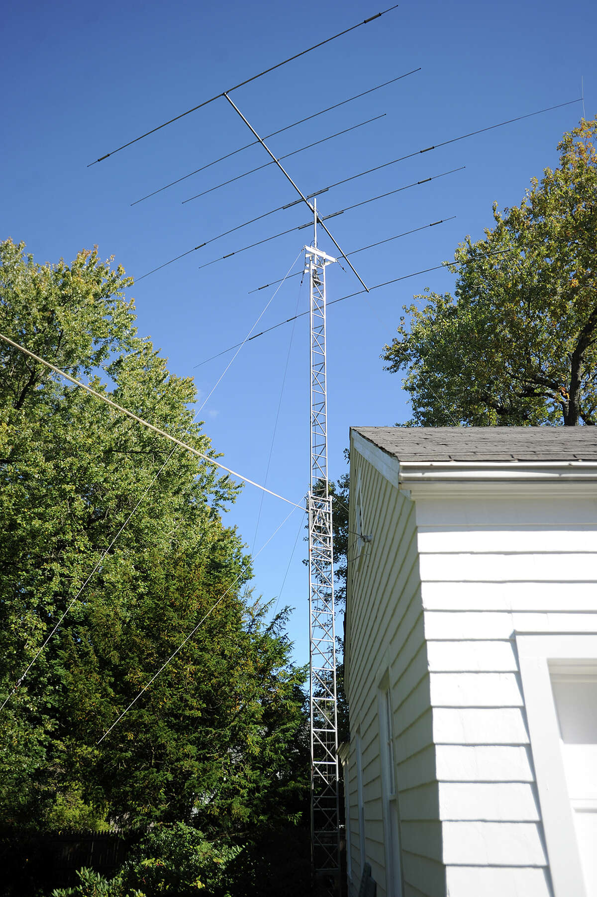 One of ham radio operator Bruce Moore's antennas outside his home in Fairfield, Conn. on Thursday, October 15, 2015.