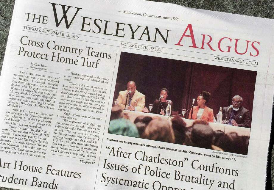 This photo shows the Wesleyan Argus student newspaper on the campus of Wesleyan University in Middletown, Conn. The student government for the liberal arts school is weighing a petition to strip The Argus of funding after some objected to an opinion piece it published on the Black Lives Matter movement. Photo: Michael Melia /Associated Press / AP