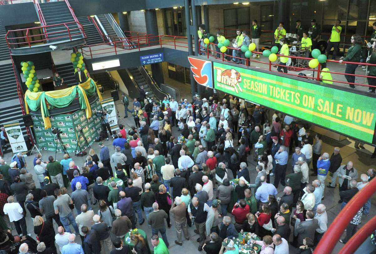 """The Siena men's and women's basketball programs held their annual """"Sneak Preview"""" event in the atrium outside Times Union Center on Tuesday Oct. 7, 2014 in Albany, N.Y. (Michael P. Farrell/Times Union)"""