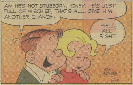 Hi & Lois (1954 – Present) by Mort Walker & Dik BrowneThe friendly suburban Flagston couple and their forever-young children have become one of the staples of American strips, most famous for baby Trixie, who waxes philosophical to a sunbeam coming through a window.