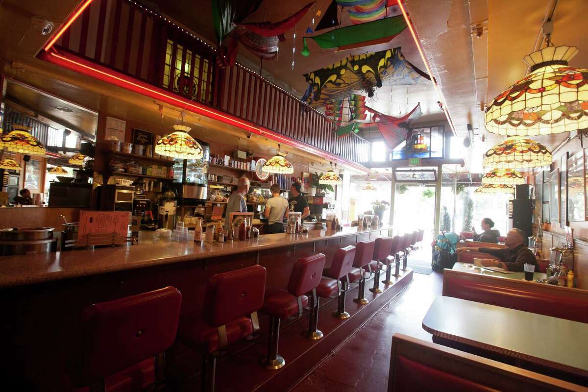 The interior of Orphan Andy's cafe in San Francisco.