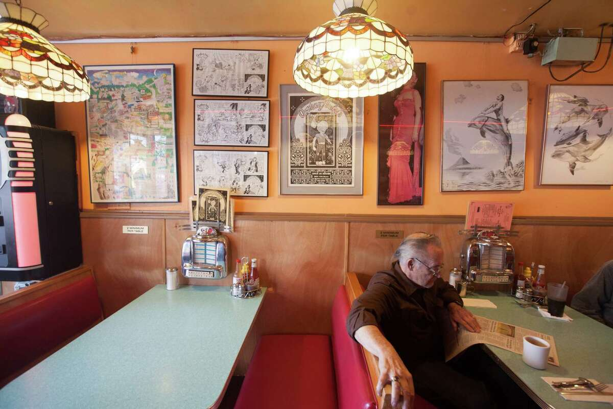 A poster of the original Orphan Andy's cafe logo adorns the wall of the cafe in San Francisco.