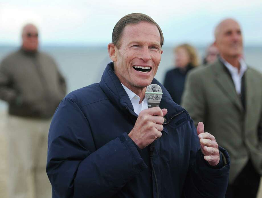 U.S. Sen. Richard Blumenthal speaks during the dedication of the Sue H. Baker Pavilion at the Old Barn at Greenwich Point Park in Old Greenwich. Photo: Tyler Sizemore / Hearst Connecticut Media / Greenwich Time
