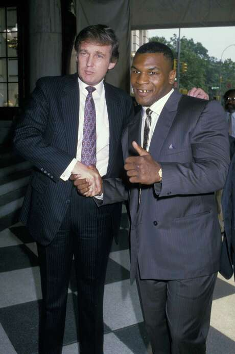 "A tape of GOP nominee Donald Trump saying boxer Mike Tyson was ""railroaded"" in a 1992 rape conviction resurfaced again on Oct. 11, 2016. It's the latest tape of Trump making comments that have shaken his campaign for the presidency. Photo: Ron Galella, Ltd., Getty Images / Ron Galella Collection"