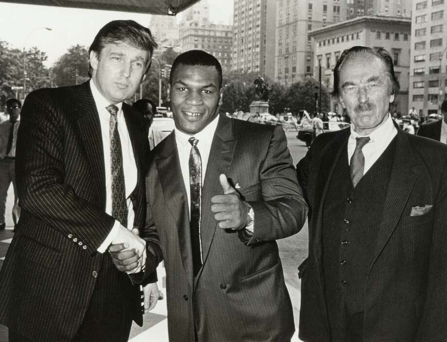 Keep going for a look back at other famous faces who backed Donald Trump. Donald Trump, Mike Tyon and Fred Trump during Mike Tyson Press Conference - July 26, 1988 at Plaza Hotel in New York City, New York, United States. Photo: Ron Galella, Getty Images / Ron Galella Collection