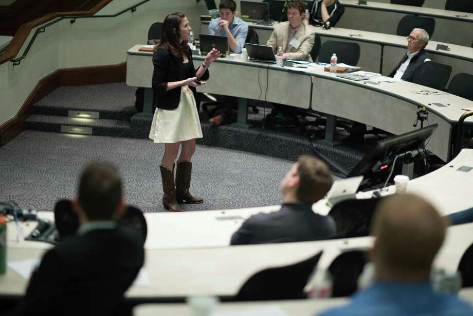 Sarah Ford, president of Houston-based Ranch Road Boots, pitches her business to investors during the inaugural Entrepreneurs' Organization-Houston Veterans Business Battle in 2016 at Rice University. Her company sells ready-to-wear boots inspired by her grandfather's boots. Photo provided by Entrepreneurs' Organization-Houston.