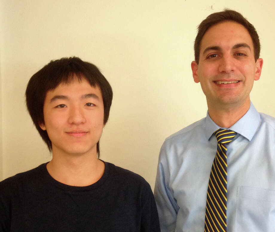 "Staples High School senior Jim Zhang, with Nick Morgan, his science research mentor, has been selected for the ""Discover a New Path — Explore Germany"" scholarship trip sponsored by the Goethe Institute of Chicago. Photo: Contributed / Contributed Photo / Westport News"