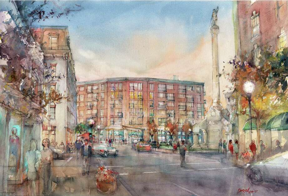 An October 2015 artist's rendering of the planned development for 1 Monument Square in Troy. The site was once the location of City Hall. (Kirchhoff Companies)