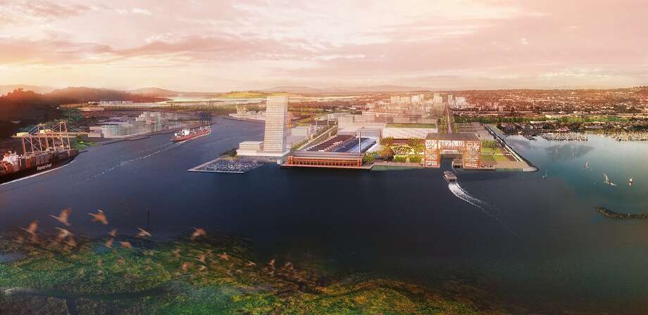 Richmond's Ford Point would be developed with a futuristic ferry terminal and high-rise development under a conceptual study by landscape architect Tom Leader on how Richmond's shoreline might be re-conceived during the next century to adapt to projected rises in the level of the bay. Photo: Tom Leader Studio