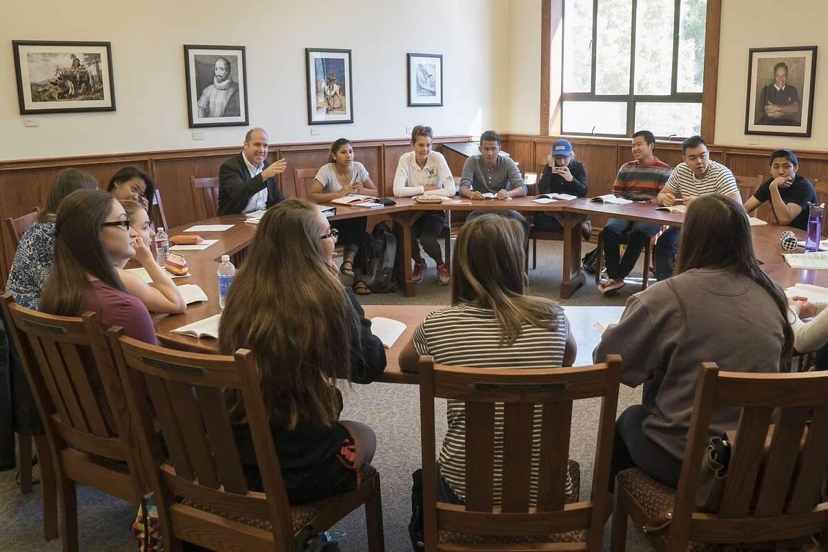 St. Mary's College of California offers an honors program, where students are often in smaller classes. Right: