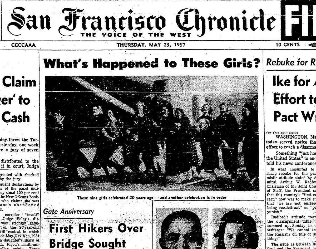 1957 Reunion of the San Rafael High School girls who were featured in a photo running across the Golden Gate Bridge, arm-in-arm