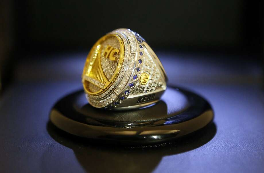 The finished ring for head coach Steve Kerr reveals some of the symbolism and craftsmanship that go into each ring. Photo: Kathleen Duncan, The Chronicle