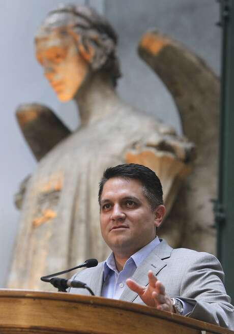 Miguel Gamino, San Francisco Chief Information Officer, announces that an Internet of Things network is live in San Francisco, Calif. on Tuesday, Oct. 27, 2015. The antennas are installed in public libraries throughout the city. Photo: Paul Chinn, The Chronicle