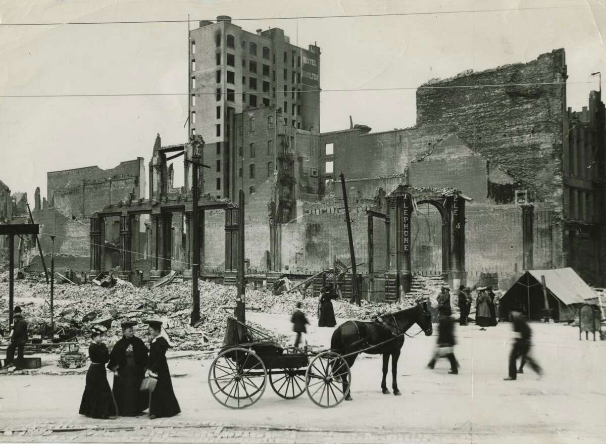 Damage near the Hamilton Hotel at 125 Ellis St. in San Francisco from the 1906 earthquake and fire.