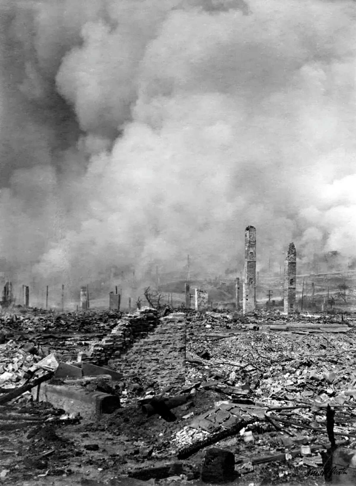 The last day of the fire following the San Francisco earthquake of 1906.
