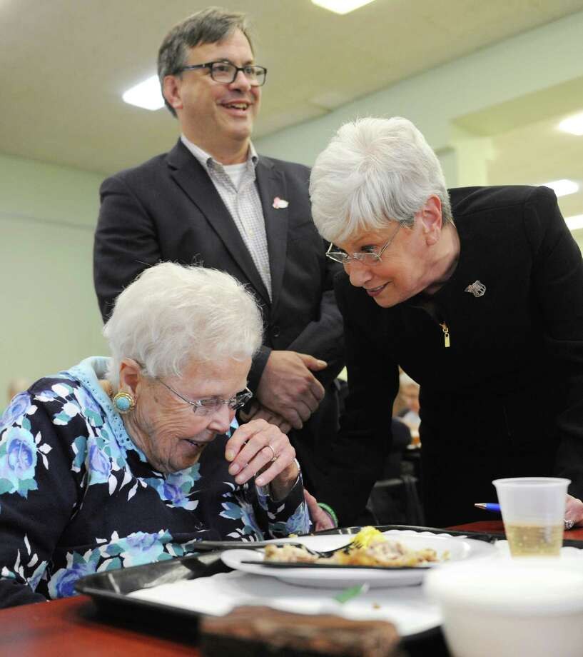 Senior Ruth Wilson, left, laughs with Connecticut Lt. Gov. Nancy Wyman and First Selectman nominee Frank Farricker at the Senior Center in Greenwich, Conn. Tuesday,  Oct. 27, 2015.  Lt. Gov. Wyman came down from Hartford Tuesday to show her support for Farricker in next Tuesday's election. Photo: Tyler Sizemore / Hearst Connecticut Media / Greenwich Time