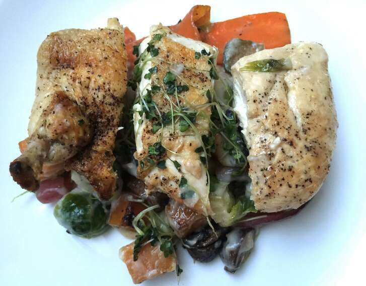 Chicken with Roasted Fall Vegetables and Cauliflower Puree, from Mealmade