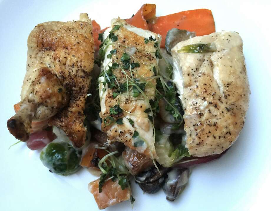Chicken with Roasted Fall Vegetables and Cauliflower Puree, from Mealmade Photo: Amanda Gold