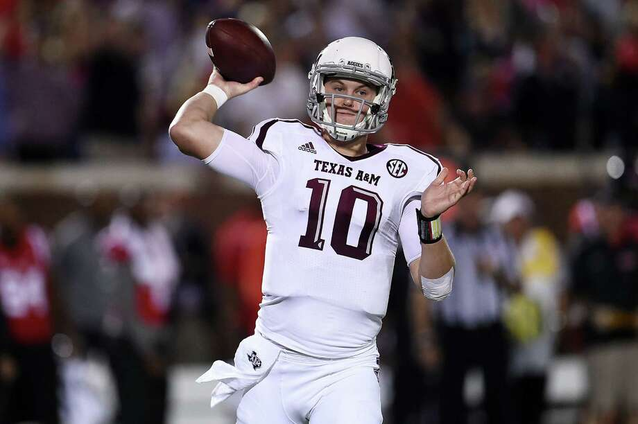 Kyle Allen of the Texas A&M Aggies looks to pass during the first quarter of a game against the Mississippi Rebels at Vaught-Hemingway Stadium on Oct. 24, 2015 in Oxford. Photo: Stacy Revere /Getty Images / 2015 Getty Images
