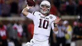 Kyle Allen of the Texas A&M Aggies looks to pass during the first quarter of a game against the Mississippi Rebels at Vaught-Hemingway Stadium on Oct.24, 2015.
