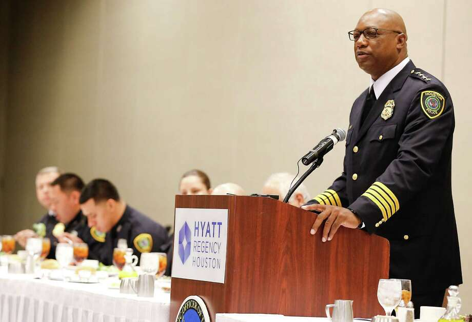 Chief of Police Charles A. McClelland Jr. speaks at the 35th annual Houston Hispanic Officer of the Year Luncheon at the Hyatt Regency in Houston, TX on Friday, October 16, 2015.  (For the Chronicle: Thomas B. Shea) Photo: Thomas B. Shea / © 2015 Thomas B. Shea
