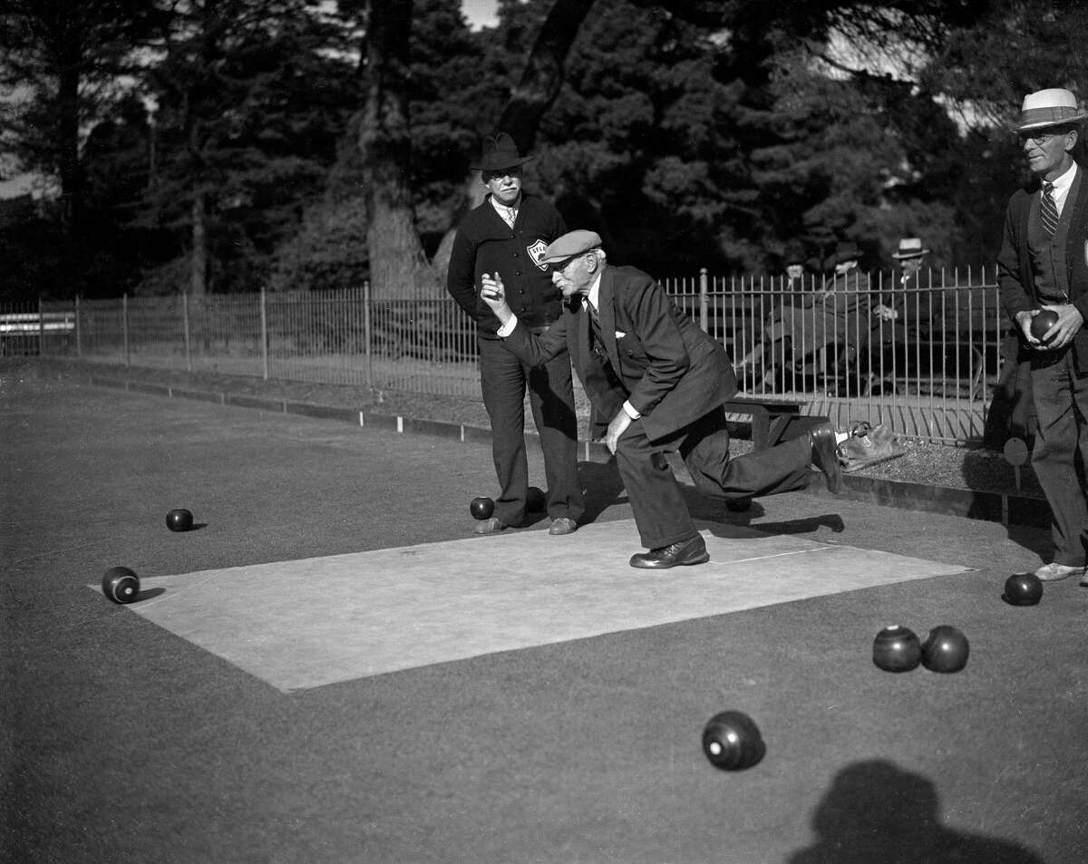 Men lawn bowling in Golden Gate Park on a sunny Spring day in 1939.