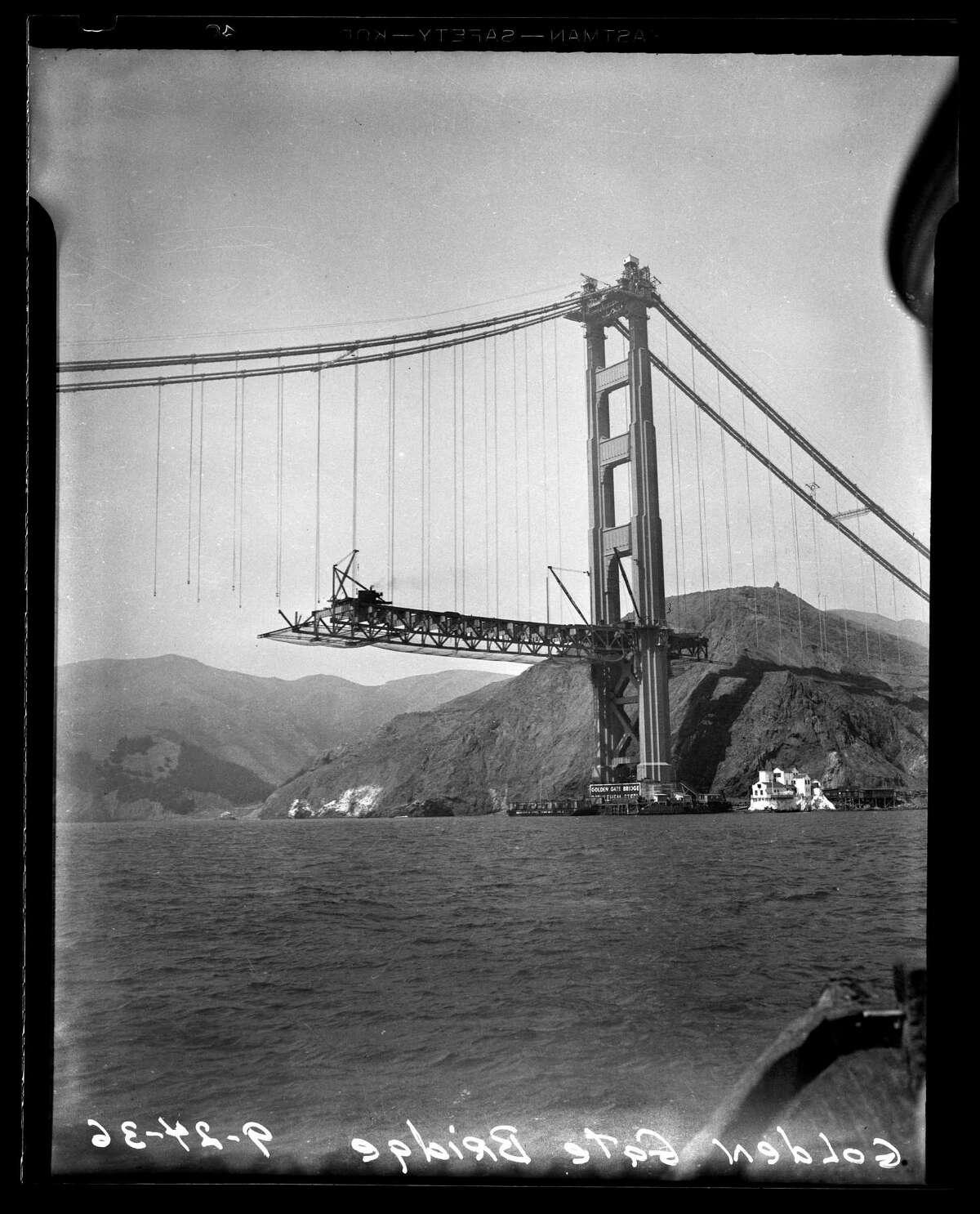 The Golden Gate Bridge under construction in September 1936.