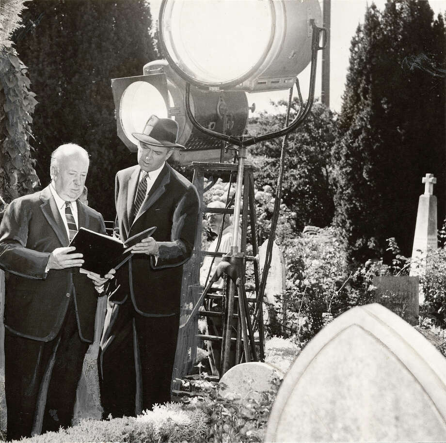 """Alfred Hitchcock and James Stewart during the filming of """"Vertigo"""" in 1958 at Mission Dolores in San Francisco. Photo: 1958 / 1958 / Chronicle Archive / CHRONICLE"""