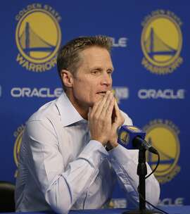 Golden State Warriors coach Steve Kerr answers questions during a news conference prior to an NBA basketball game against the New Orleans Pelicans, Tuesday, Oct. 27, 2015, in Oakland, Calif. (AP Photo/Ben Margot)