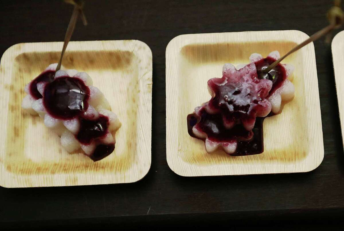 Mal Sichuan Bistro offered mountain yams with blueberry sauce for the UberEATS launch party in Houston at the Historic Heights Fire Station onTuesday evening. Restaurants partnering with . Houston will be the 10th location in North America to get the meal delivery service. Tuesday, Oct. 27, 2015, in Houston.