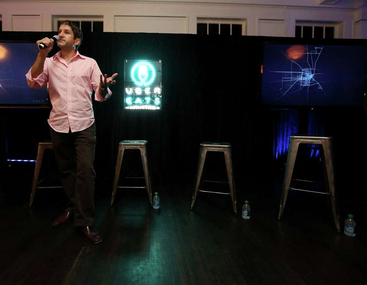 Chef Ryan Pera of Coltivare talks to attendees for the UberEATS launch party in Houston at the Historic Heights Fire Station onTuesday evening. Restaurants partnering with . Houston will be the 10th location in North America to get the meal delivery service. Tuesday, Oct. 27, 2015, in Houston.