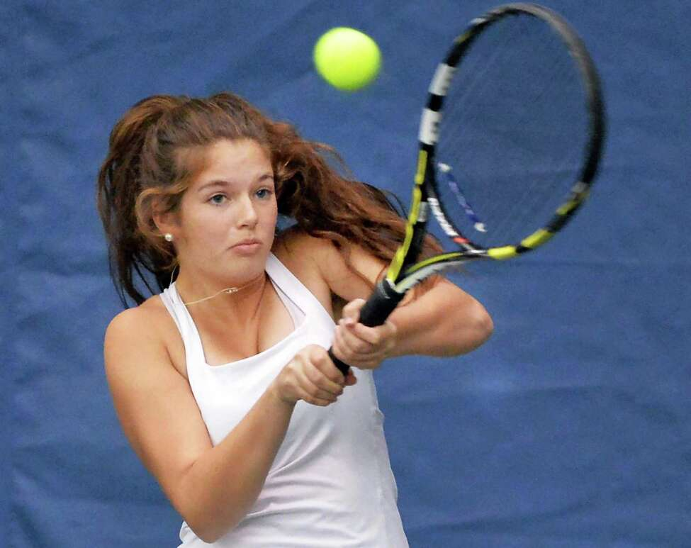 Saratoga High's Rachel McDonald during her Section II tennis individual championship match against Shaker's Haejin Lee Tuesday Oct. 27, 2015 in Rotterdam,NY. (John Carl D'Annibale / Times Union)