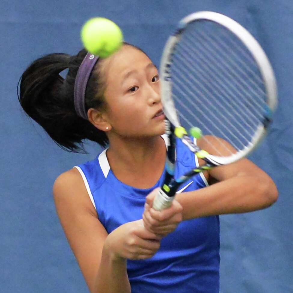 Shaker's Haejin Lee during her Section II tennis individual championship match against Saratoga High's Rachel McDonald Tuesday Oct. 27, 2015 in Rotterdam,NY. (John Carl D'Annibale / Times Union)
