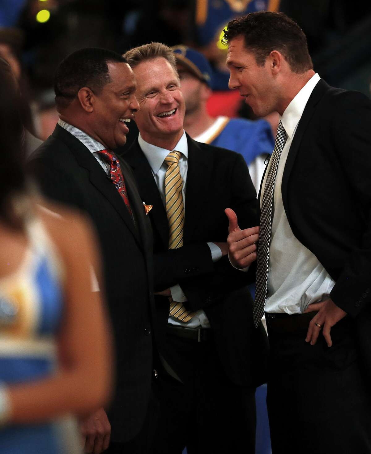 Golden State Warriors' head coach Steve Kerr, interim coach Luke Walton and New Orleans Pelicans' head coach Alvin Gentry before NBA game at Oracle Arena in Oakland, Calif., on Tuesday, October 27, 2015.