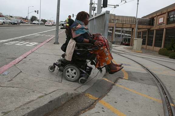Neighbor Robert Muehlbauer shows pedestrian problems including this narrow sidewalk which is across the street from where about a hundred units of affordable housing is planned in San Francisco, Calif., on Tuesday, October 27, 2015.